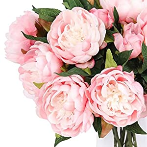Celine lin 1PC 3 Heads Luxury Peony Bouquet Realistic Artificial Flower Home Wedding Party Decorative Floristry,Pink 17
