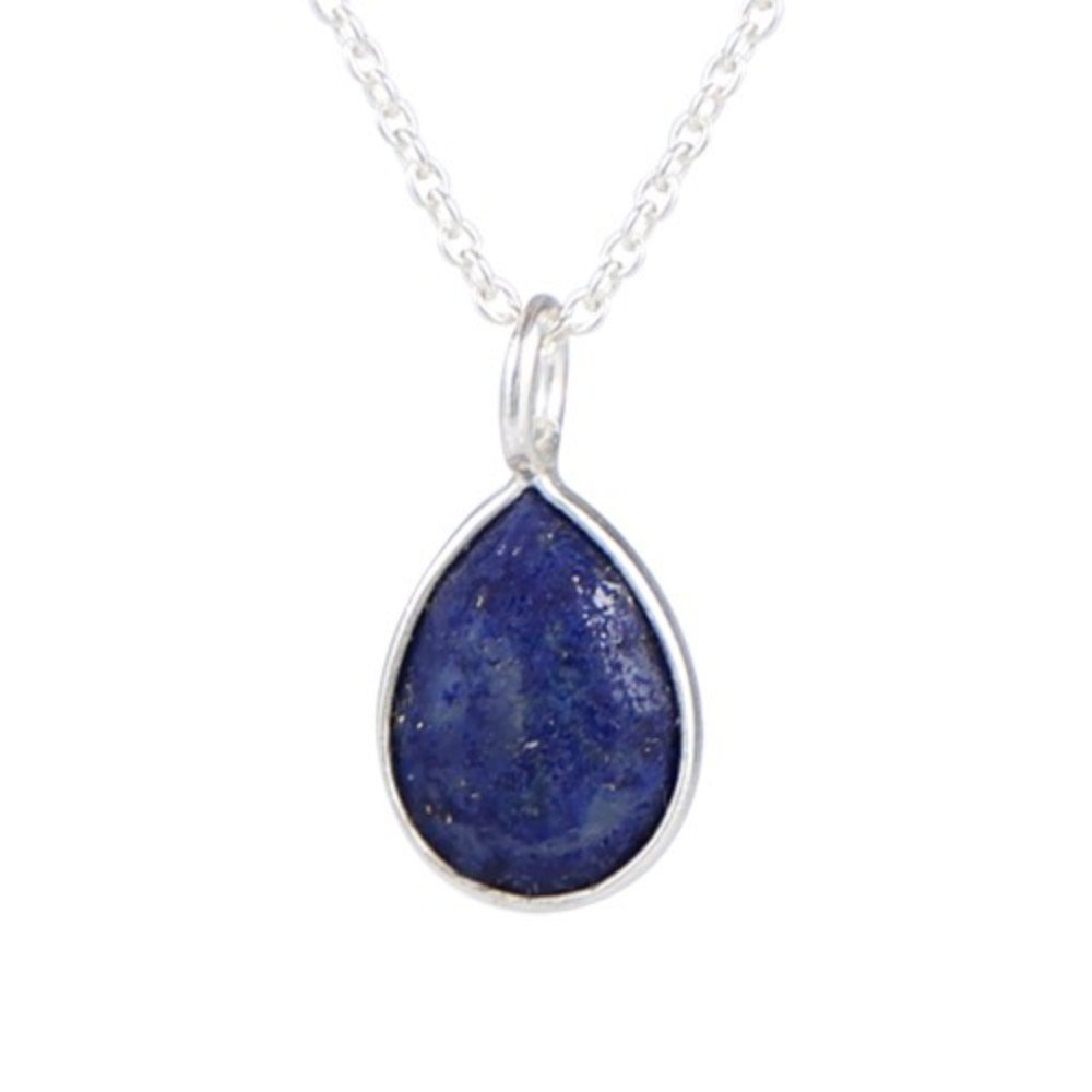 Nathis Simple and Delicate Necklace Tear-Drop Shaped Pendant of Lapis Lazuli Gemstone
