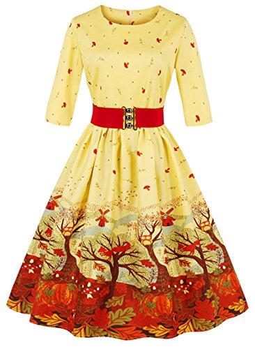 Bestfort Weihnachten Kleider Damen Rundhals Vintage Cocktailkleider ...