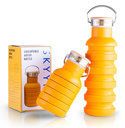 Collapsible Sports Travel Water Bottle - 18 oz Leak Proof Silicone Foldable Drinking Bottle with Bamboo & Stainless Steel Lid with Handle. Perfect for Airplane Travel Outdoor Camping Hiking Yoga Gym
