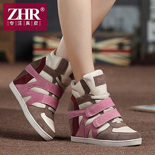 inverno in per sportivo scarpe autunno Jurchen con coreane alte fondo tempo nascosto Scarpe piatto libero pelle xE0zIaqTw