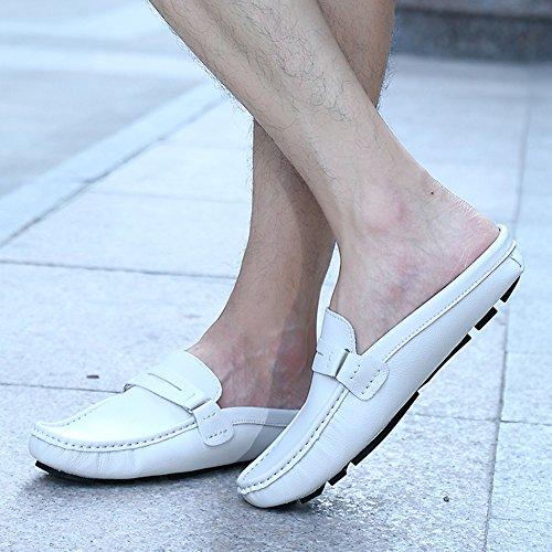 Aisun Hombres Comfort Casual Zapatillas De Punta Redonda Slip On Mules Y Zuecos Pisos Slides Mocasines Zapatos De Conducción Blanco