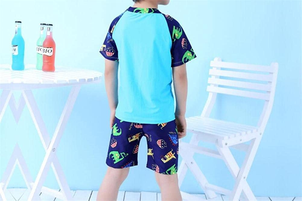 Monvecle Little Boys 6-Pieces Short Sleeve Rash Guard Swimsuit Set with Swim Cap UPF 50+