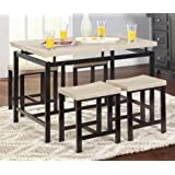 Dinette Sets For Small Spaces-Dinning Room Table Set-Five Piece Natural Reclaimed Wood