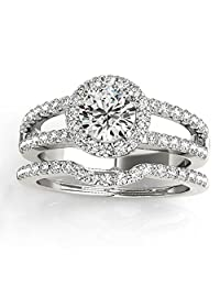 Diamond Split Shank and Curved Band Bridal Set Palladium 0.95ct (No center stone included)