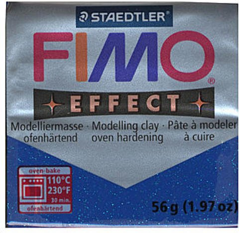 (Fimo Soft Polymer Clay (Glitter Blue) 4 packages)
