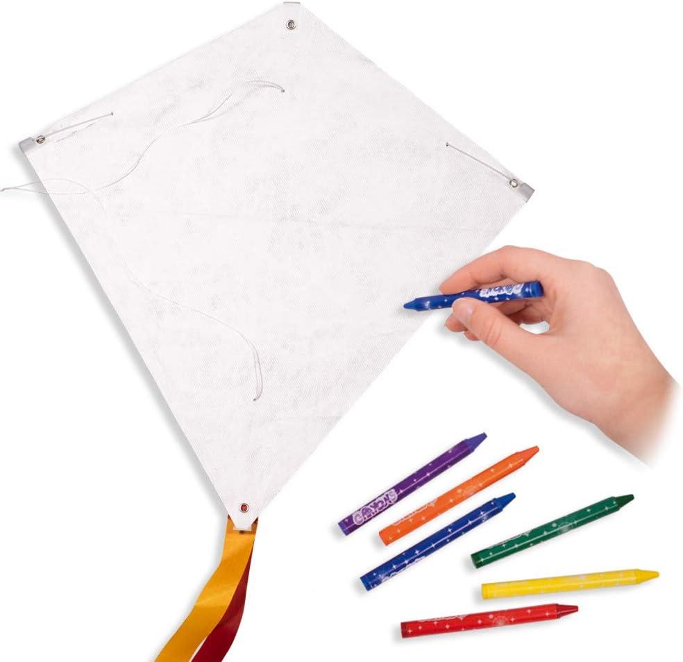 Kit à fabriquer un cerf volant et décorer soi-même, INCL. 6 Crayons de Couleurs - Dimensions : 49x49cm