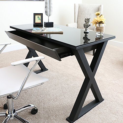 48 Inch Wide Black Glass, Metal and Wood X Framed Desk For Sale