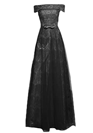 WAWALI Lace Off Shoulder Evening Dresses Bow Party Prom Gowns 6 Black