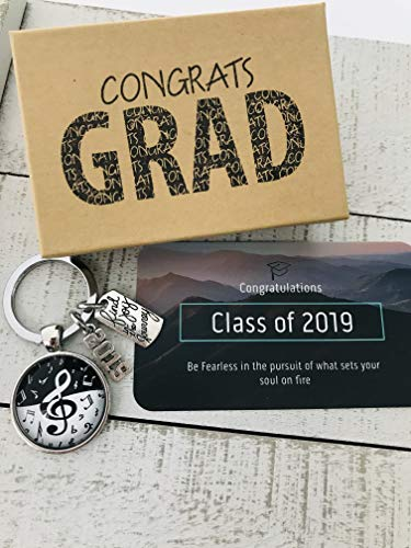 Music Major Musician Keychain Band Player Graduation Gift Class of 2019 for him or her Key Chain and Card with Inspirational Quote in Gift Packaging Ready to Give!