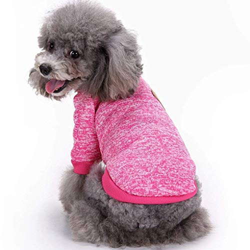 Bwealth Dog Clothes Soft Pet Apparel Thickening Fleece Shirt Warm Winter Knitwear Sweater for Small and Medium Pet (L, Rose ()