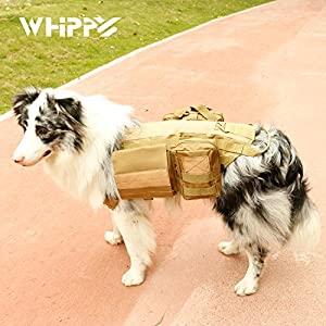Tactical Dog Training Molle Vest Harness, WHIPPY Pet Vest with Detachable Pouches