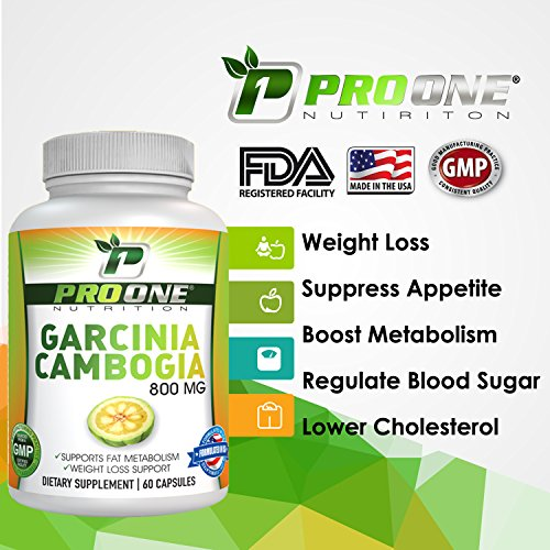 Pure Garcinia Cambogia 800MG by ProOne Nutrition. Add Garcinia to lose weight quickly and fast to diet, Increase Energy, improve Cholesterol, Stabilize Blood Sugar Levels and have a More Positive Mood by Pro One Nutrition (Image #1)