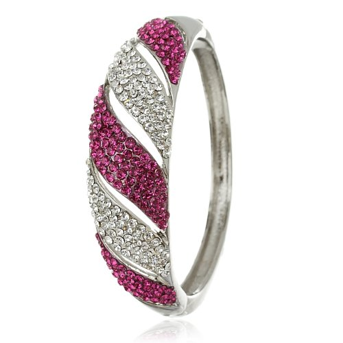 Stylish & Solid Cuff Bangle in Swarovski Crystals Elements - Fuschia, Janeo Bangles & Bracelets (Halloween Costumes With Next Day Delivery)