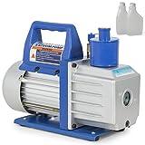 ARKSEN 1/2HP Rotary Vane 5CFM Vacuum Pump, Refrigerant HVAC A/C, 1-Stage w/Vacuum Pump Oil, Blue