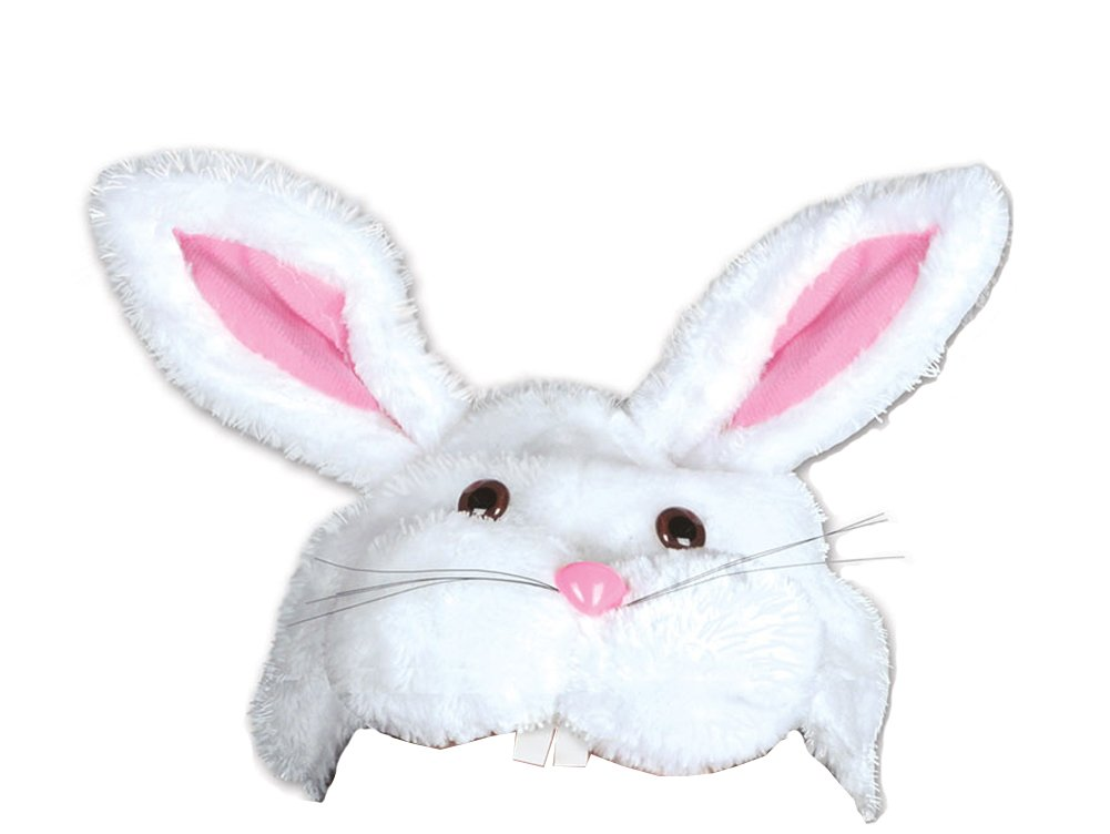 Fuzzy Plush White & Pink Easter Bunny Rabbit Hat