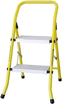 Taburete Plegable Escalera 2 Peldaños Con Pasamanos, Escalera De Acero Combinada De Aluminio Y Acero, Escalera Móvil Plegable Escalera De Dos Escalones, Amarillo, Carga 110kg: Amazon.es: Bricolaje y herramientas