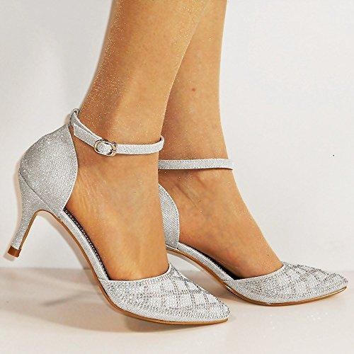 Plata Tobillo 24 Mujer Nuevo Media Tira En Estilos Negro Baile 26 Tacón Zapato Brillante Baja Pedrería Número De Fiesta Rock Salón vq8fnwABv