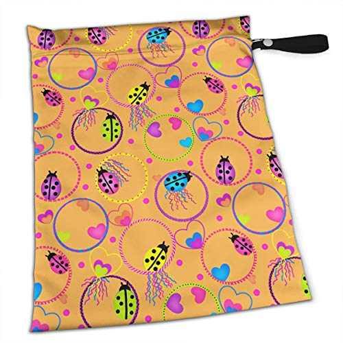 Ladybug Circle Tote Travel Accessories Size Happens Reusable Laundry Beach Toddler Dry Bag for Workout Swim Wet Kid Baby Gym Clothes Cloth Diaper Wetbag -