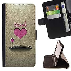 BullDog Case - FOR/Samsung Galaxy Core Prime / - / Pink Heart /- Monedero de cuero de la PU Llevar cubierta de la caja con el ID Credit Card Slots Flip funda de cuer