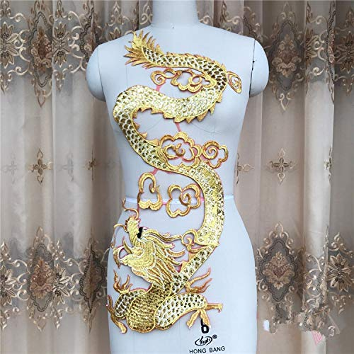- 68x26.5CM Dragon Gold Line Sequined Embroidery Patches Applique for Wedding Performing Clothes Evening Dress DIY Patches Material