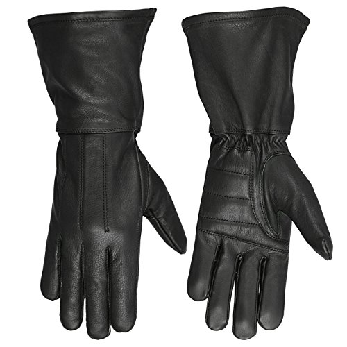 Hugger Women's Classic Motorcycle Gloves Unlined Seasonal Wind Stopper Gauntlet (Large, Black)
