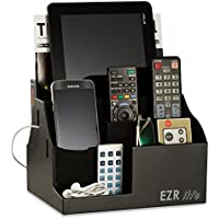 EZR life All-in-One Remote Control Holder, Caddy, Organizer - Black Leather - also holds Phones, Tablets, Books, E-books, Glasses