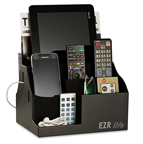 EZR life All-in-One Remote Control Holder, Caddy, Organizer - Black Leather - also holds Phones, Tablets, Books, E-books, Glasses by EZR life
