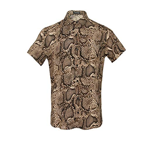 UPAAN Men Snakeskin Printed Shirts Short Sleeve Button Down Casual Shirt Brown