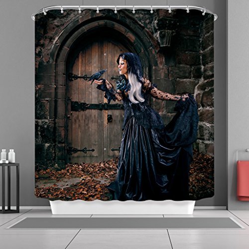 VANCAR Happy Halloween Shower Curtain Black Crow and Witch Wood Door Waterproof Mildew Resistant Fabric Decorative Shower Curtain for Bathroom Decoration Home Decor 66