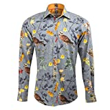 Claudio Lugli Nature Print Designer Luxury Cotton Long Sleeve Slim Fit Men's Shirt CP6352 Large Grey White & Grey