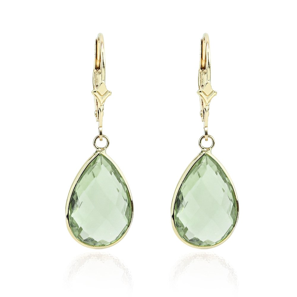 14K Yellow Gold Handmade Gemstone Earrings With Dangling Pear Shape Green Quartz