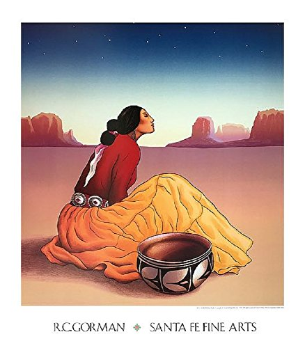 Picture Peddler La Noche by R.C. Gorman Southwest Native American Indian Navajo Art Poster Print Overall Size: 27.25x31.25, Image Size: 23.5x25.5 by Picture Peddler