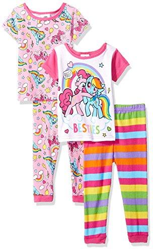 (My Little Pony Toddler Girls Magical 4-Piece Cotton Pajama Set, Bestie Rainbows,)