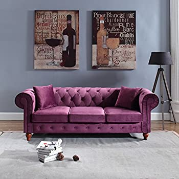 Classic Velvet Scroll Arm Tufted Button Chesterfield Style Sofa (Purple)