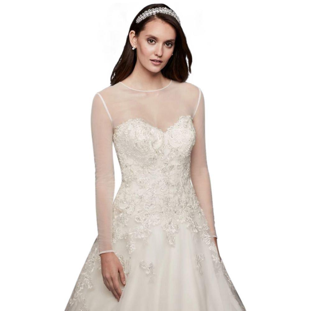 David's Bridal Long-Sleeve Tulle Wedding Dress Topper Style OW2100, Ivory, 8
