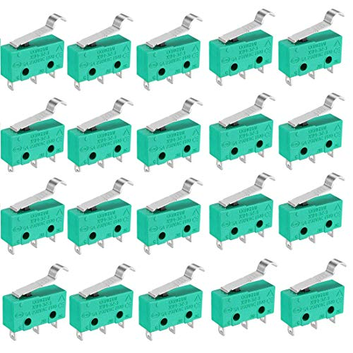 20Pcs KW4-3Z-3 Hinge Pole Micro-limit Switch Green for Mill CNC