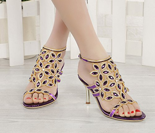Party Stiletto Perfect Pump Sandals Purple for Heel Honeystore Mid Rhinestone Women Shoes Wedding qz1xHR