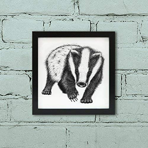 Badger art print - Framed animal art, Indian ink illustration. Badger gift.