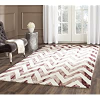 Safavieh Dip Dye Collection DDY715I Handmade Chevron Stripe Watercolor Ivory and Maroon Wool Area Rug (8 x 10)