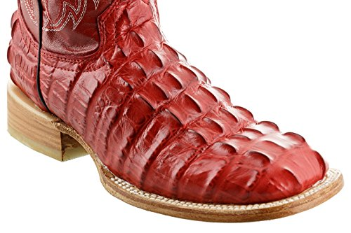 Crocodile Team West Men's Square Cowboy Design Tail Red Boots Leather q1xCwAE