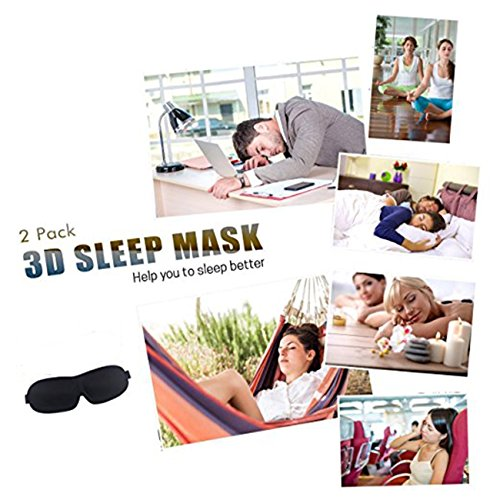 Sleep Mask Pack of 2 Eye Mask for Sleeping with Adjustable Strap 3D Contoured Sleeping Mask, Lightweight & Soft Blackout Blindfold for Travel, Shift Work & Meditation, Black by imarron (Image #6)
