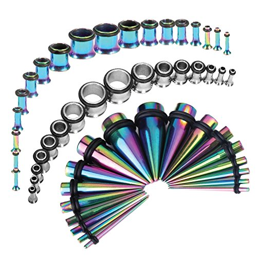 Taper Plug Kit 54 Pieces Rainbow 14G-00G Stretching Kit with Steel Plugs 14G-00G
