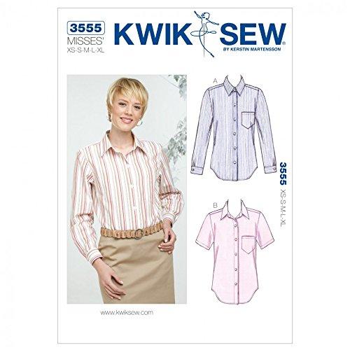 Kwik Sew Ladies Sewing Pattern 3555 Long & Short Sleeve Shirt Tops