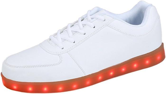 Zapatos con Luces led para Deportivas Zapatillas Fluorescentes de Moda Marcas para Mujer Hombre 2015 Nuevo (45, Blanco): Amazon.es: Zapatos y complementos