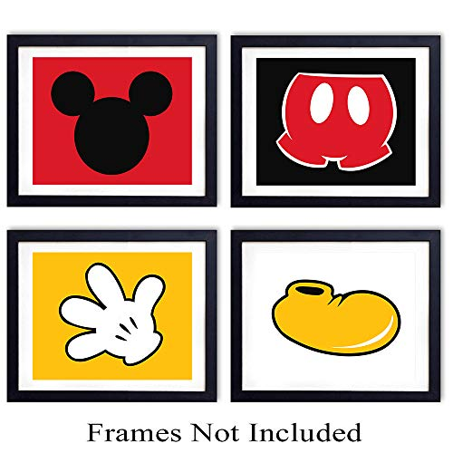 Mickey Mouse Parts Wall Art Prints  Set of Four 8X10 Ready to Frame Vintage Photos  Perfect Gift For Baby Boys and Girls  Disney World Fans  Disneyworld  Great For Home Decor