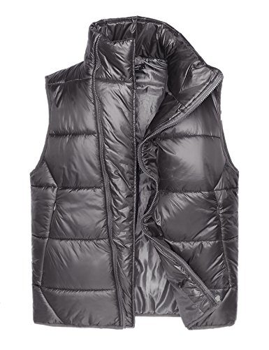 COOFANDY Mens Casual Lightweight Front-Zip Bodywarmer Down Puffer Gilet Vest, Grey, - Front Puffer Zip