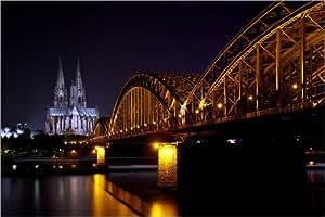 Cuadro sobre lienzo 60 x 40 cm: Cologne by night de Filtergrafia - cuadro terminado, cuadro sobre bastidor, lámina terminada sobre lienzo auténtico, impresión en lienzo