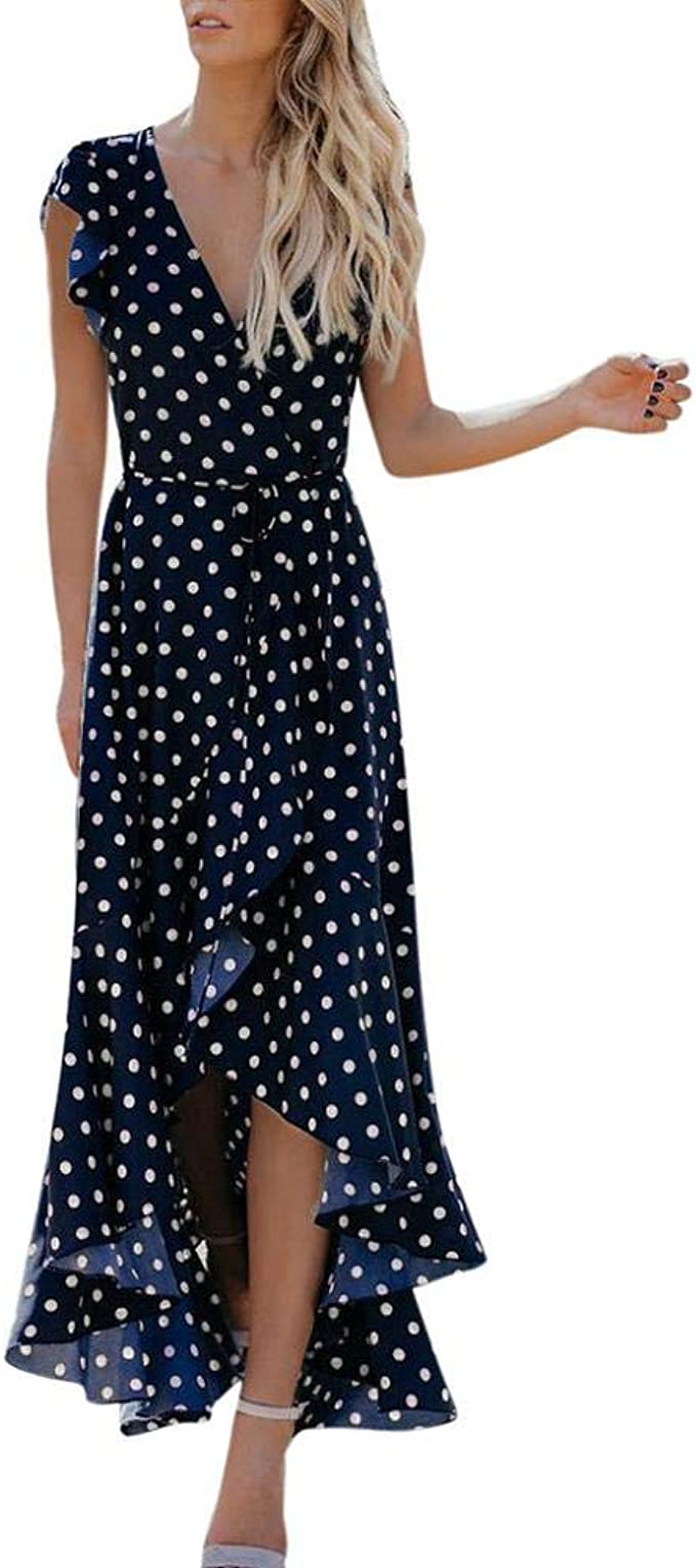 YEBIRAL Damen Kleider Böhmisch Polka-Punkt Exquisite V Ausschnitt