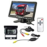 """Wireless 18 LED IR Night Vision Waterproof Reversing Backup Camera 12V+ 7"""" TFT Car LCD Monitor for Bus Truck Trailer RV Auto Vehicle Rear View Kit Parking Assistance System (Black, 7"""" Bracket Monitor)"""